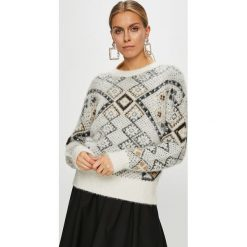 Desigual - Sweter. Szare swetry klasyczne damskie Desigual, m, z bawełny, z okrągłym kołnierzem. Za 449,90 zł.