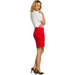 NICOLE Ołówkowa, mini spódnica z dwoma zamkami - czerwona. Czerwone minispódniczki Moe, ołówkowe. Za 109,99 zł.