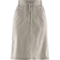 Spódnica lniana ze ściągaczem bonprix kamienisty. Szare spódniczki bonprix. Za 69,99 zł.