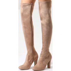 Beżowe Kozaki September Girl. Brązowe buty zimowe damskie vices, z materiału, z okrągłym noskiem, na wysokim obcasie, na obcasie. Za 139,99 zł.