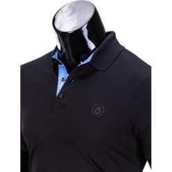 KOSZULKA MĘSKA POLO BEZ NADRUKU S837 - CZARNA. Czarne koszulki polo marki Ombre Clothing, m, z nadrukiem. Za 39,00 zł.