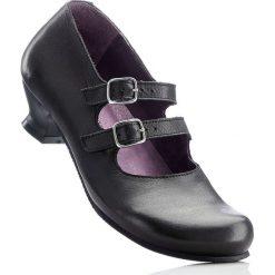 Buty ślubne damskie: Wygodne czółenka skórzane z paskiem bonprix czarny