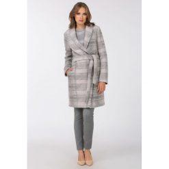Płaszcze damskie pastelowe: Wełniany płaszcz z subtelnym wzorem