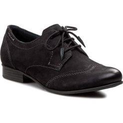 Oxfordy TAMARIS - 1-23203-25 Black 001. Czarne jazzówki damskie Tamaris, z nubiku, na płaskiej podeszwie. W wyprzedaży za 209,00 zł.