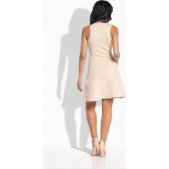 Kobieca sukienka z zamkiem z przodu beżowy - 2