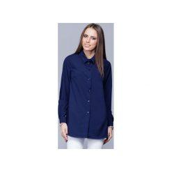 Elegancka koszula z kołnierzykiem granat  H025. Niebieskie koszule wiązane damskie Harmony, s, biznesowe, z klasycznym kołnierzykiem, z długim rękawem. Za 134,00 zł.