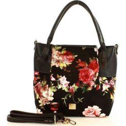 NOBO Niezwykła torba miejska czarny z kwiatami. Czarne torebki klasyczne damskie marki Nobo, z nadrukiem, z nadrukiem. Za 229,00 zł.