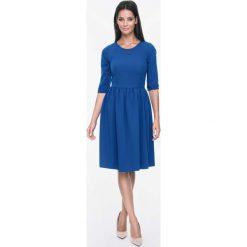 Sukienki: Szafirowa Sukienka Rozkloszowana z Rękawami do Łokcia