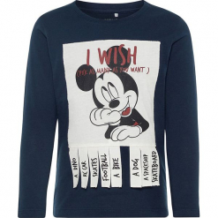 """Koszulka """"Mickey"""" w kolorze granatowym. Niebieskie t-shirty chłopięce z długim rękawem Name it Kids, z aplikacjami, z bawełny. W wyprzedaży za 49,95 zł."""