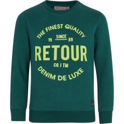 Bluza w kolorze morskim. Niebieskie bluzy chłopięce marki Retour Denim de Luxe, z nadrukiem. W wyprzedaży za 82,95 zł.