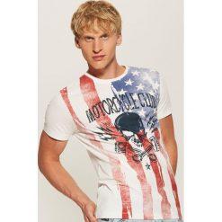 T-shirt z nadrukiem Motorcycle club - Kremowy. Białe t-shirty męskie z nadrukiem marki House, l. Za 39,99 zł.