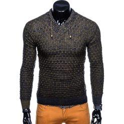 SWETER MĘSKI E133 - KHAKI. Brązowe swetry klasyczne męskie marki Inny, m. Za 49,00 zł.
