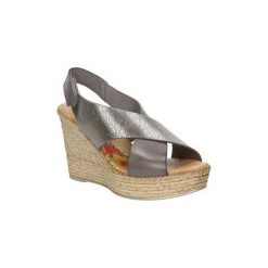 Sandały Marila  Sandały skórzane na koturnie  4064/LA-24. Szare sandały damskie marki Marila, na koturnie. Za 179,99 zł.
