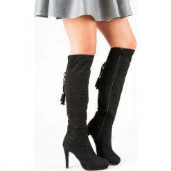 CZARNE MUSZKIETERKI NA SZPILCE. Czarne buty zimowe damskie SMALL SWAN, na szpilce. Za 102,90 zł.