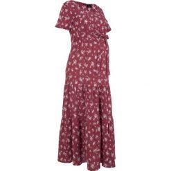 Sukienka ciążowa bawełniana bonprix bordowy w kwiaty. Fioletowe sukienki ciążowe bonprix, na lato, w kwiaty, z bawełny, moda ciążowa. Za 124,99 zł.