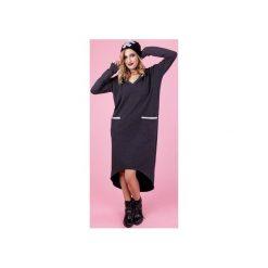 NONSZALANCKA SUKIENKA FLORENCE - GRAFITOWA. Szare sukienki asymetryczne marki Madnezz, l, z bawełny, eleganckie, z asymetrycznym kołnierzem. Za 219,00 zł.