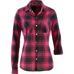 Bluzka w kratę bonprix ciemnoróżowo-czarny w kratę. Czerwone bluzki asymetryczne bonprix. Za 69,99 zł.