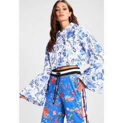 Bluzy rozpinane damskie: Jaded London CROP HOODIE WITH TAPE DETAIL Bluza z kapturem white/blue