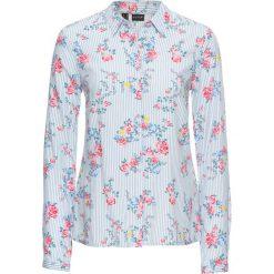 Bluzka z wiskozy bonprix biel wełny - jasnoniebieski w kwiaty. Białe bluzki asymetryczne bonprix, w kwiaty, z wełny, z długim rękawem. Za 79,99 zł.
