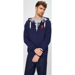 U.S. Polo - Bluza. Niebieskie bluzy męskie rozpinane marki U.S. Polo, l, z bawełny, z kapturem. W wyprzedaży za 439,90 zł.
