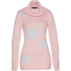 Golfy damskie: Sweter bonprix pastelowy jasnoróżowy – srebrny