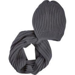 Komplet 2-częściowy: czapka beanie + szalik koło bonprix ciemnoszary. Szare czapki zimowe damskie marki bonprix. Za 59,99 zł.