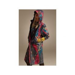 PŁASZCZ ORNAMENT. Szare płaszcze damskie pastelowe Colorat, na jesień, s, w kolorowe wzory. Za 699,00 zł.