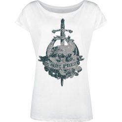 Outlander Je Suis Prest Koszulka damska biały. Białe bluzki asymetryczne Outlander, xxl, z nadrukiem, z dekoltem w łódkę. Za 79,90 zł.