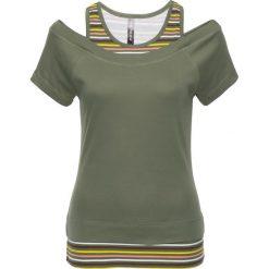 T-shirt 2 w 1 bonprix oliwkowy w paski. Zielone t-shirty damskie bonprix, w paski. Za 54,99 zł.