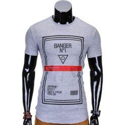 T-shirty męskie: T-SHIRT MĘSKI Z NADRUKIEM S800 – SZARY