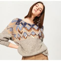 Sweter z żakardowym wzorem - Szary. Szare swetry klasyczne damskie Reserved, l, z żakardem. Za 159,99 zł.