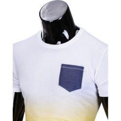 T-SHIRT MĘSKI BEZ NADRUKU S427 - BIAŁY/ŻÓŁTY. Białe t-shirty męskie z nadrukiem marki Ombre Clothing, m, z jeansu. Za 19,99 zł.