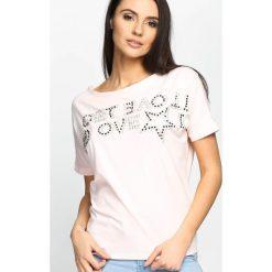 Różowy T-shirt End To Front. Czerwone bluzki damskie marki Born2be, m. Za 19,99 zł.