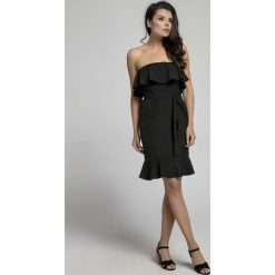 Czarna Koktajlowa Sukienka Typu Hiszpanka z Paskiem. Niebieskie sukienki balowe marki Reserved, z odkrytymi ramionami. W wyprzedaży za 92,91 zł.