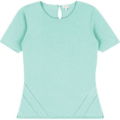 Sweter kaszmirowy w kolorze miętowym. Niebieskie swetry klasyczne damskie marki Ateliers de la Maille, z kaszmiru, z okrągłym kołnierzem. W wyprzedaży za 318,95 zł.