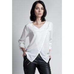 Odzież damska: Biała Wizytowa Bluzka z Kopertowym Założeniem z Podpinanym Rękawem