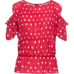 Bluzka z wycięciami bonprix czerwono-biały w kropki. Czerwone bluzki z odkrytymi ramionami bonprix, w kropki. Za 44,99 zł.