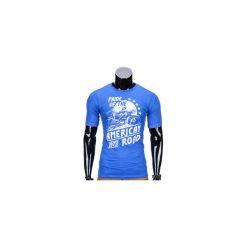 T-SHIRT MĘSKI Z NADRUKIEM S753 - NIEBIESKI. Niebieskie t-shirty męskie z nadrukiem marki Ombre Clothing, m. Za 29,00 zł.