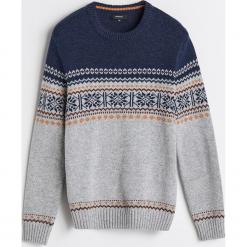 Sweter z domieszką wełny - Jasny szar. Szare swetry klasyczne męskie marki bonprix, l, melanż. Za 119,99 zł.