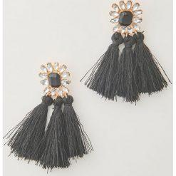 Kolczyki damskie: Błyszczące kolczyki z chwostami – Czarny