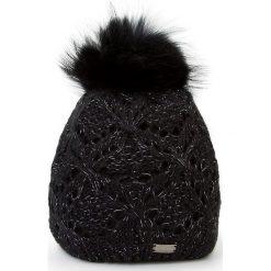 Czapka damska 87-HF-004-1. Czarne czapki zimowe damskie Wittchen, na zimę, w ażurowe wzory, z dzianiny. Za 89,00 zł.