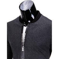 BLUZA MĘSKA ROZPINANA BEZ KAPTURA B681 - GRAFITOWA. Szare bluzy męskie rozpinane marki Ombre Clothing, m, bez kaptura. Za 59,00 zł.