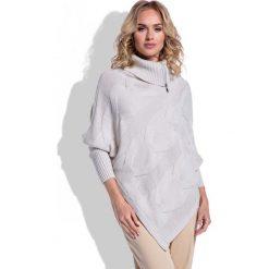 Swetry rozpinane damskie: Beżowy Sweter-Ponczo z Golfem na Suwak