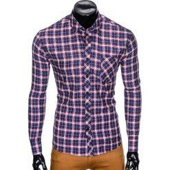 KOSZULA MĘSKA W KRATĘ Z DŁUGIM RĘKAWEM K415 - GRANATOWA/CZERWONA. Brązowe koszule męskie na spinki marki Ombre Clothing, m, z aplikacjami, z kontrastowym kołnierzykiem, z długim rękawem. Za 39,00 zł.