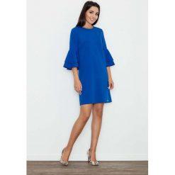 Niebieska Elegancka Sukienka z Hiszpańskim Rękawem. Niebieskie sukienki balowe marki Molly.pl, do pracy, l, z tkaniny, z okrągłym kołnierzem. Za 149,90 zł.