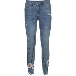 """Dżinsy z haftem bonprix niebieski """"bleached"""". Zielone jeansy damskie marki bonprix, w kropki, z kopertowym dekoltem, kopertowe. Za 159,99 zł."""