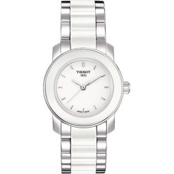 PROMOCJA ZEGAREK TISSOT T- LADY T064.210.22.011.00. Białe zegarki damskie TISSOT, ceramiczne. W wyprzedaży za 1452,00 zł.