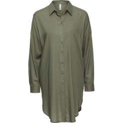 Długa  bluzka bonprix oliwkowy. Zielone bluzki asymetryczne bonprix, z długim rękawem. Za 89,99 zł.