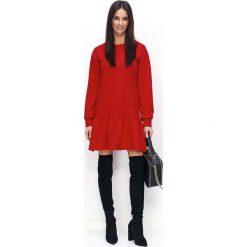 Czerwona Sukienka Casual z Falbanką na Długi Rękaw. Czerwone długie sukienki marki House, l, z napisami, sportowe, sportowe. Za 108,90 zł.