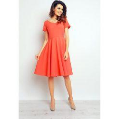 Sukienki: Koktajlowa Koralowa Elegancka Rozkloszowana Sukienka